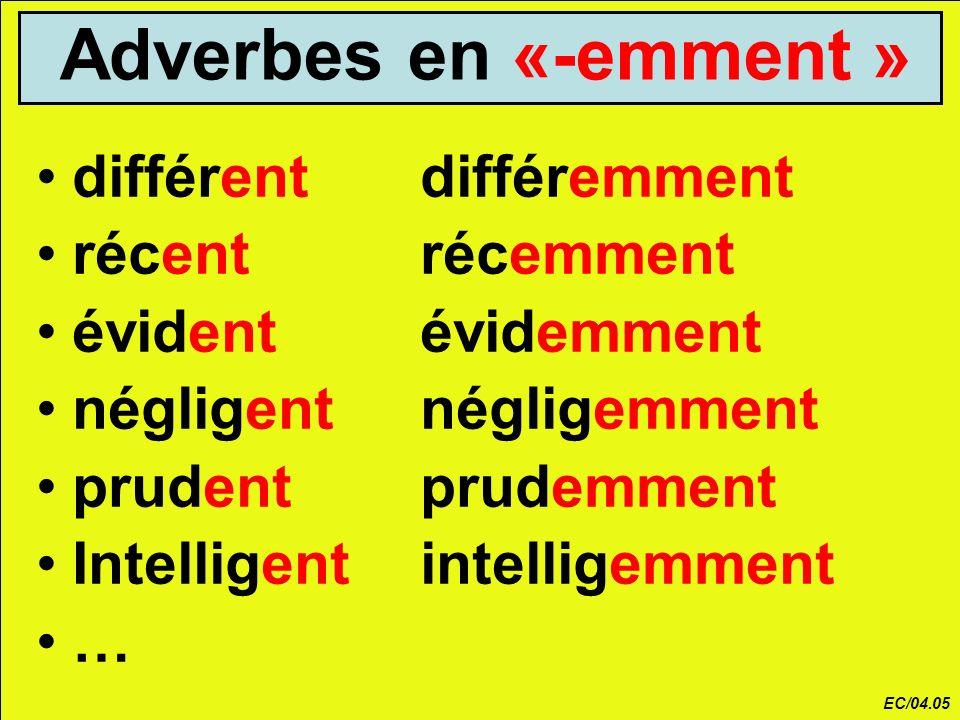 Adverbes en «-emment » différent différemment récent récemment