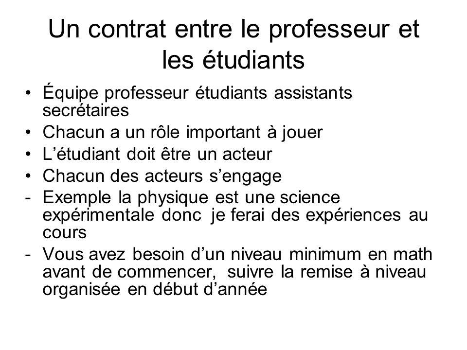 Un contrat entre le professeur et les étudiants