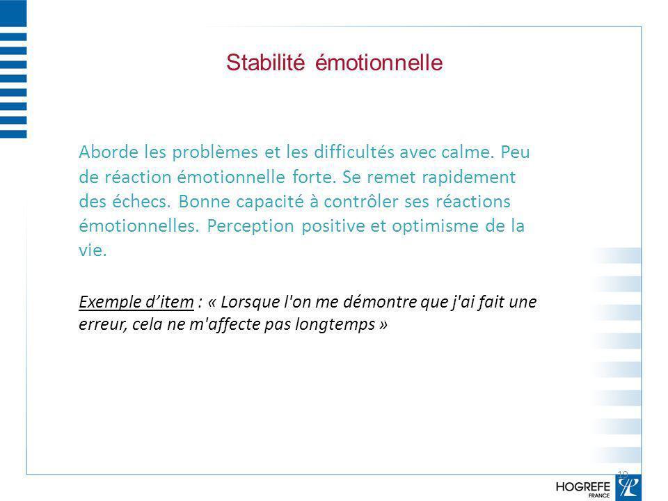Stabilité émotionnelle