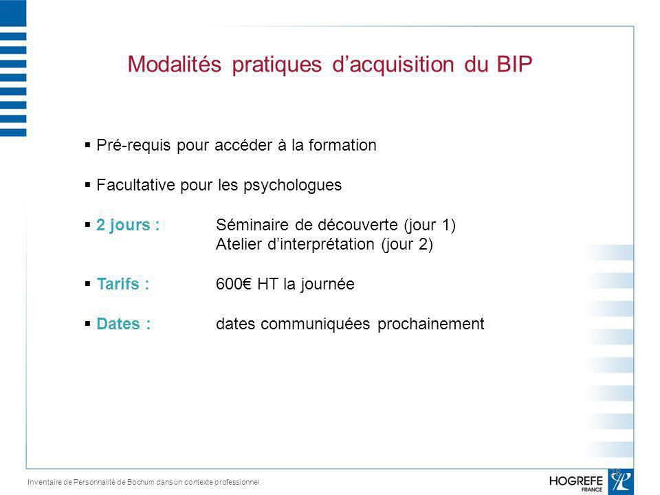 Modalités pratiques d'acquisition du BIP