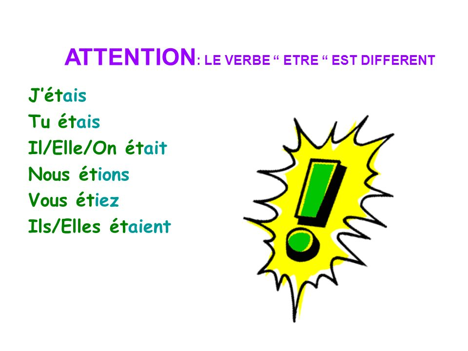 ATTENTION: LE VERBE ETRE EST DIFFERENT