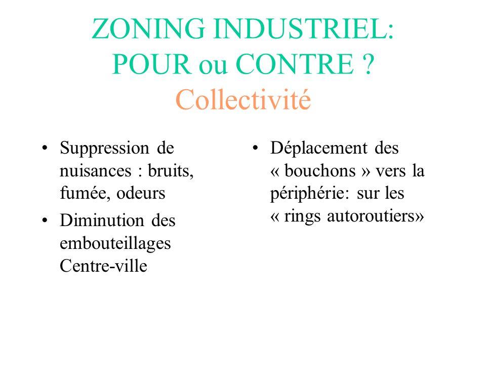 ZONING INDUSTRIEL: POUR ou CONTRE Collectivité