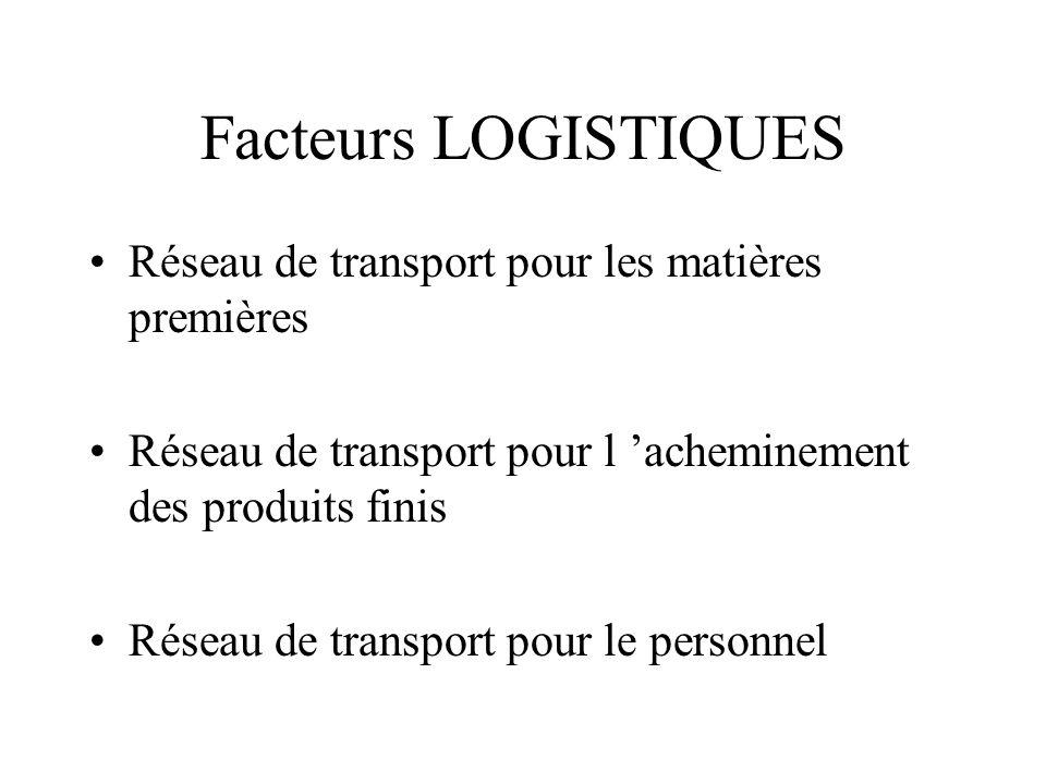 Facteurs LOGISTIQUES Réseau de transport pour les matières premières