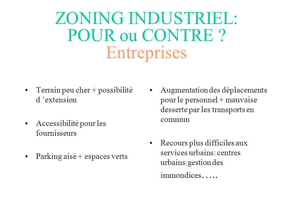 ZONING INDUSTRIEL: POUR ou CONTRE Entreprises