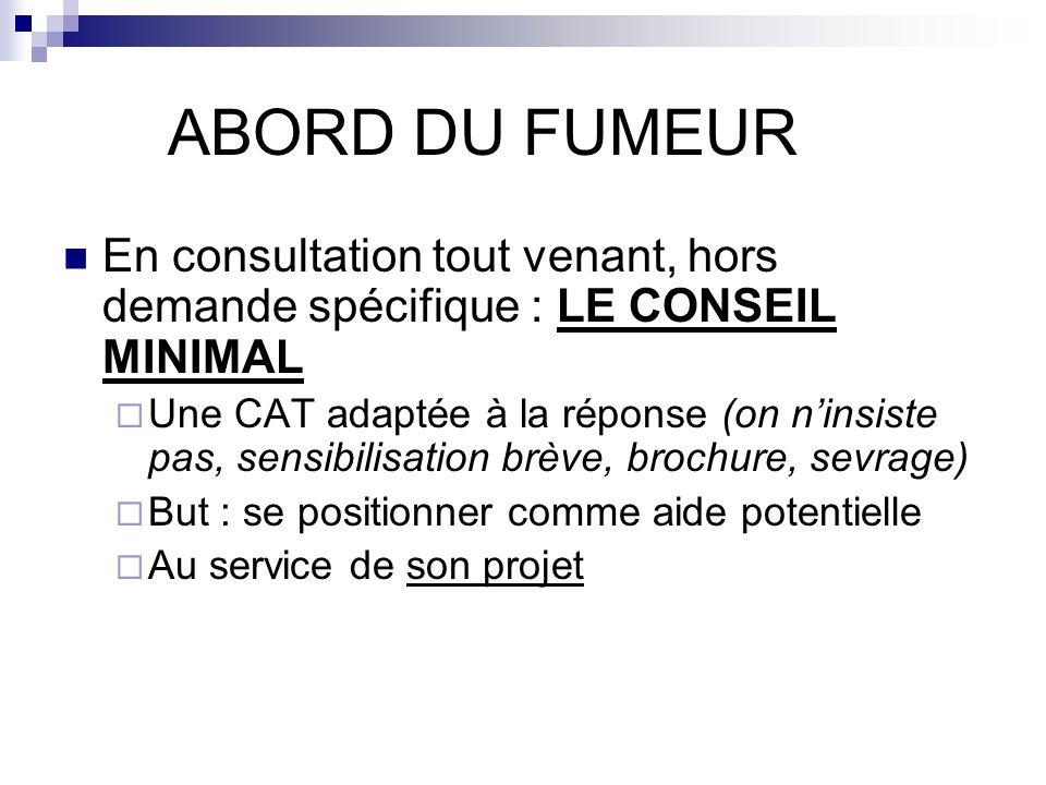 ABORD DU FUMEUR En consultation tout venant, hors demande spécifique : LE CONSEIL MINIMAL.