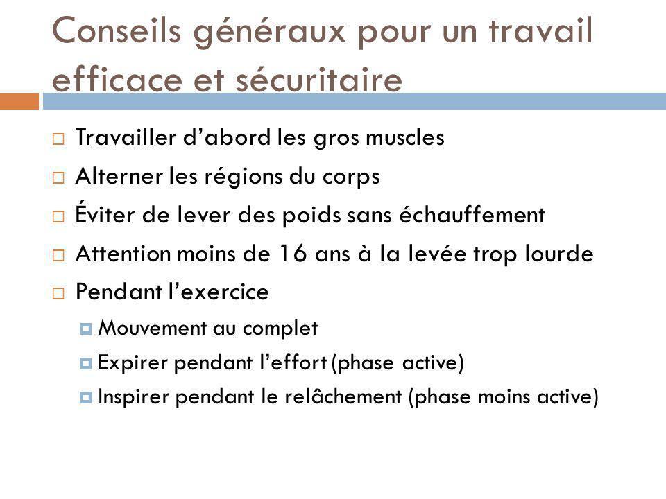 Conseils généraux pour un travail efficace et sécuritaire