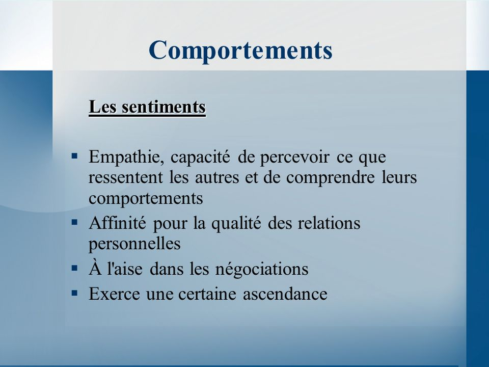 Comportements Les sentiments