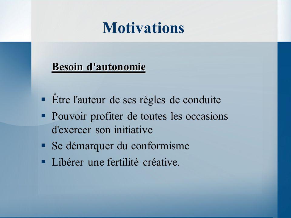 Motivations Besoin d autonomie Être l auteur de ses règles de conduite