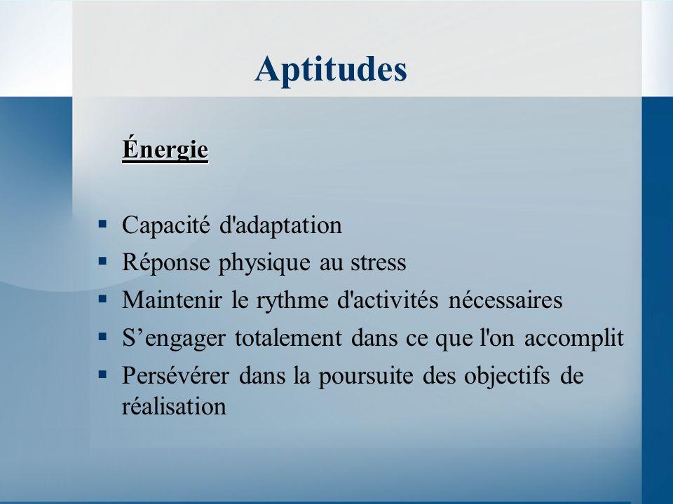 Aptitudes Énergie Capacité d adaptation Réponse physique au stress