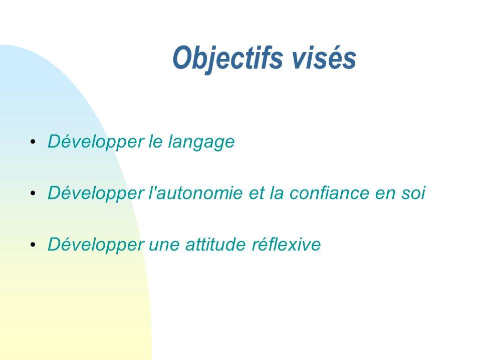 Objectifs visés Développer le langage