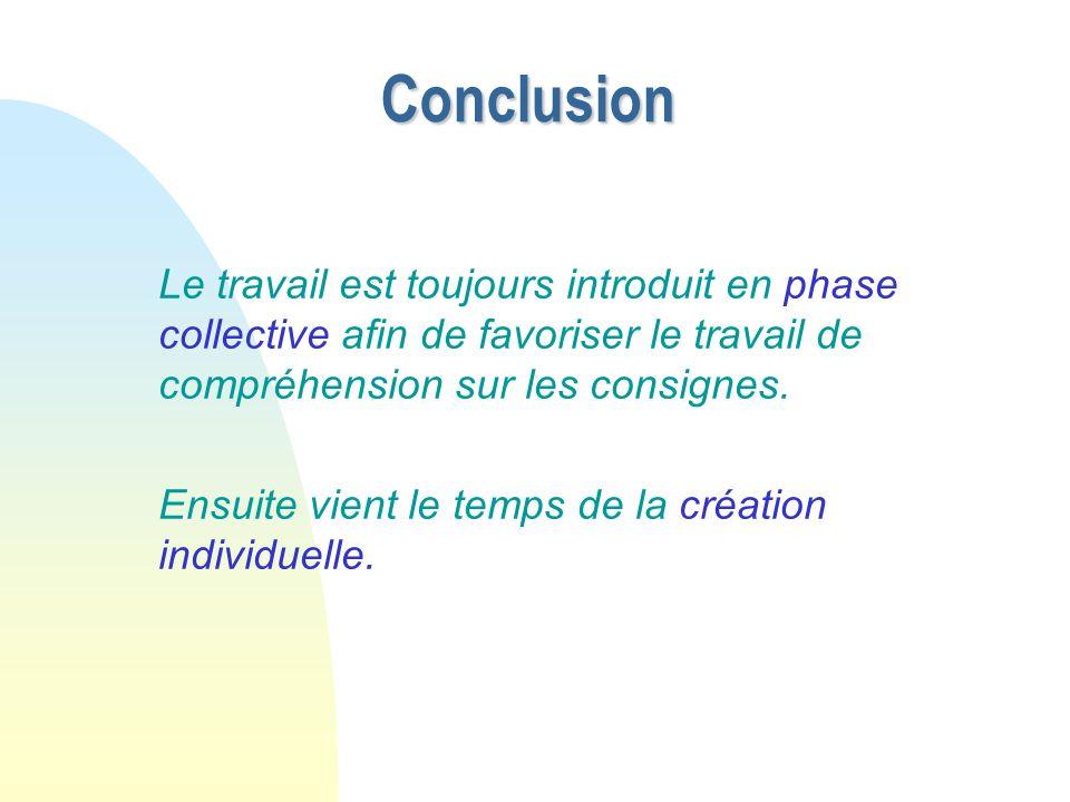 10/11/08 Conclusion. Le travail est toujours introduit en phase collective afin de favoriser le travail de compréhension sur les consignes.