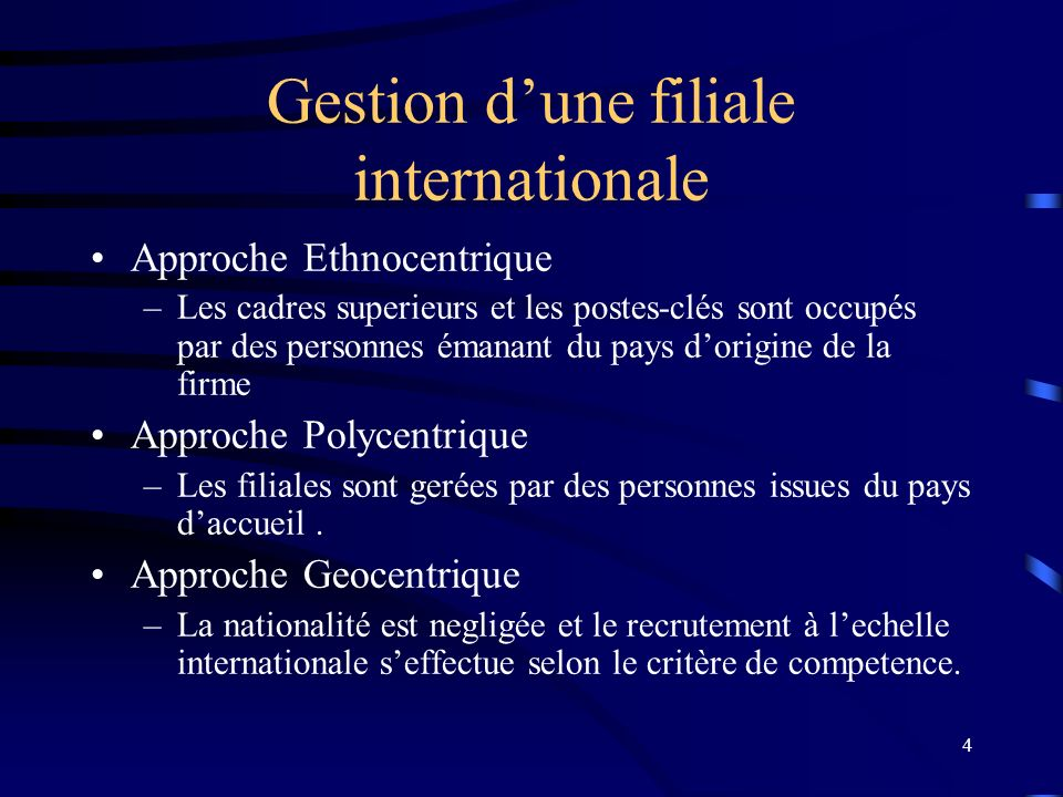 Gestion d'une filiale internationale