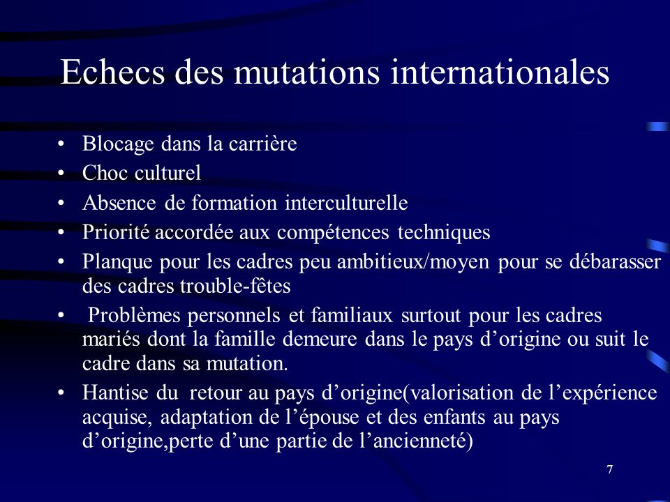 Echecs des mutations internationales