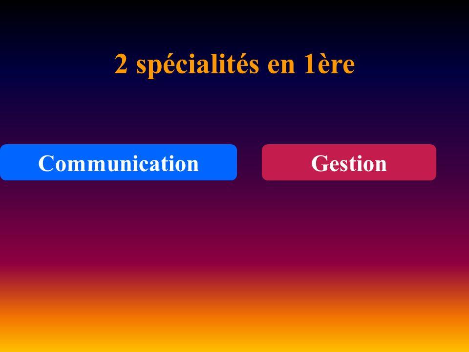 2 spécialités en 1ère Communication Gestion