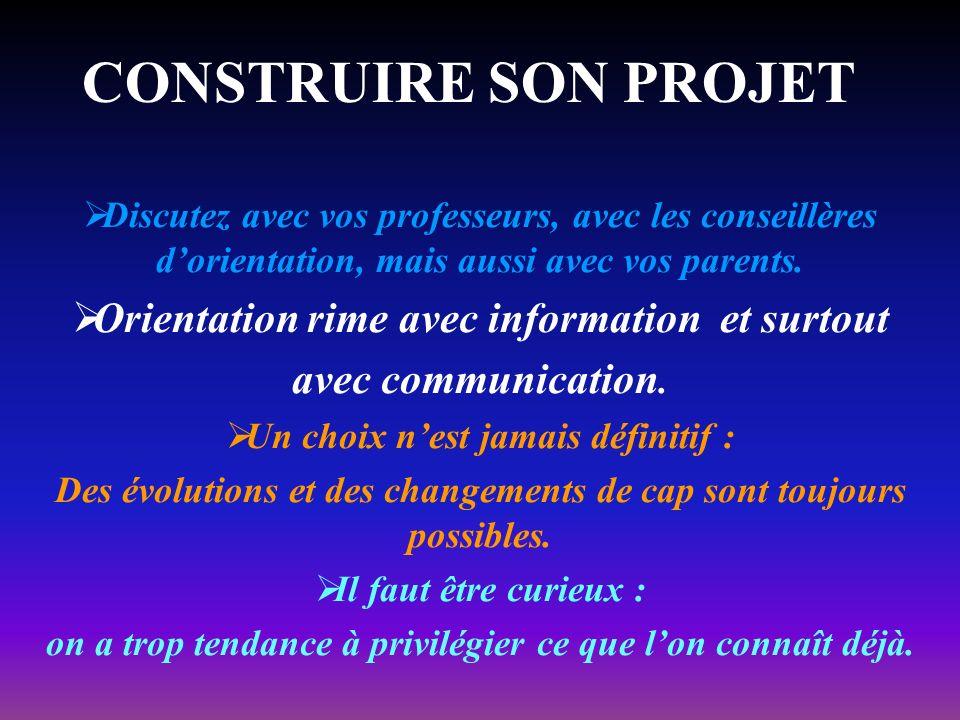 CONSTRUIRE SON PROJET Orientation rime avec information et surtout