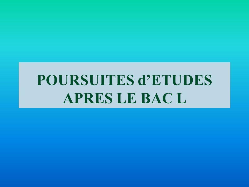 POURSUITES d'ETUDES APRES LE BAC L
