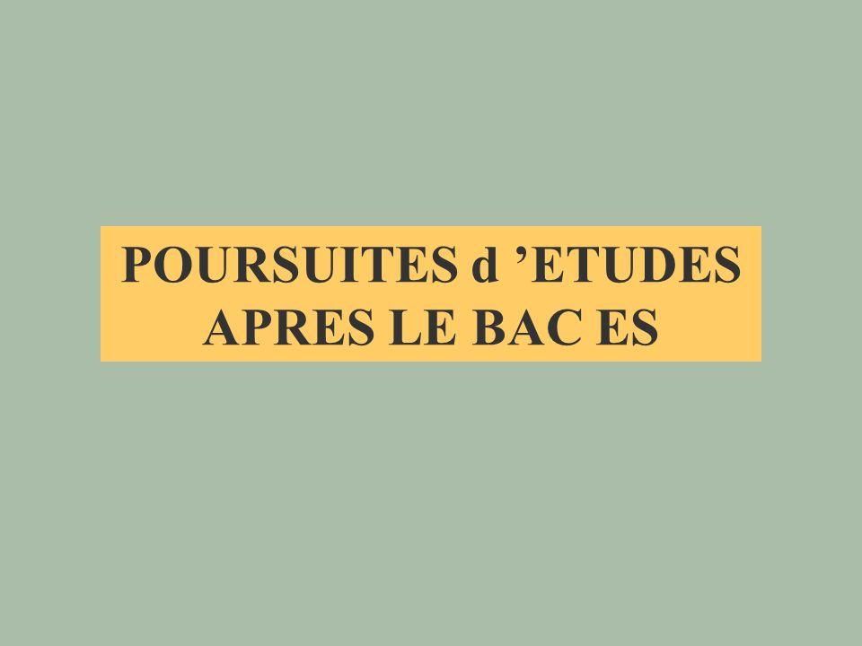 POURSUITES d 'ETUDES APRES LE BAC ES