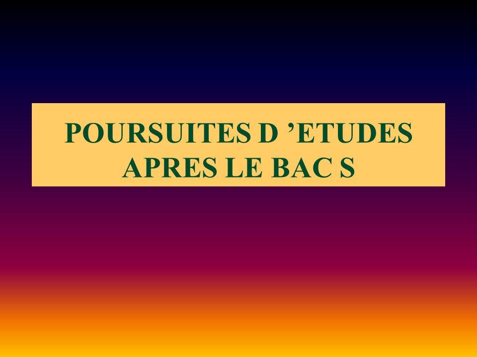 POURSUITES D 'ETUDES APRES LE BAC S