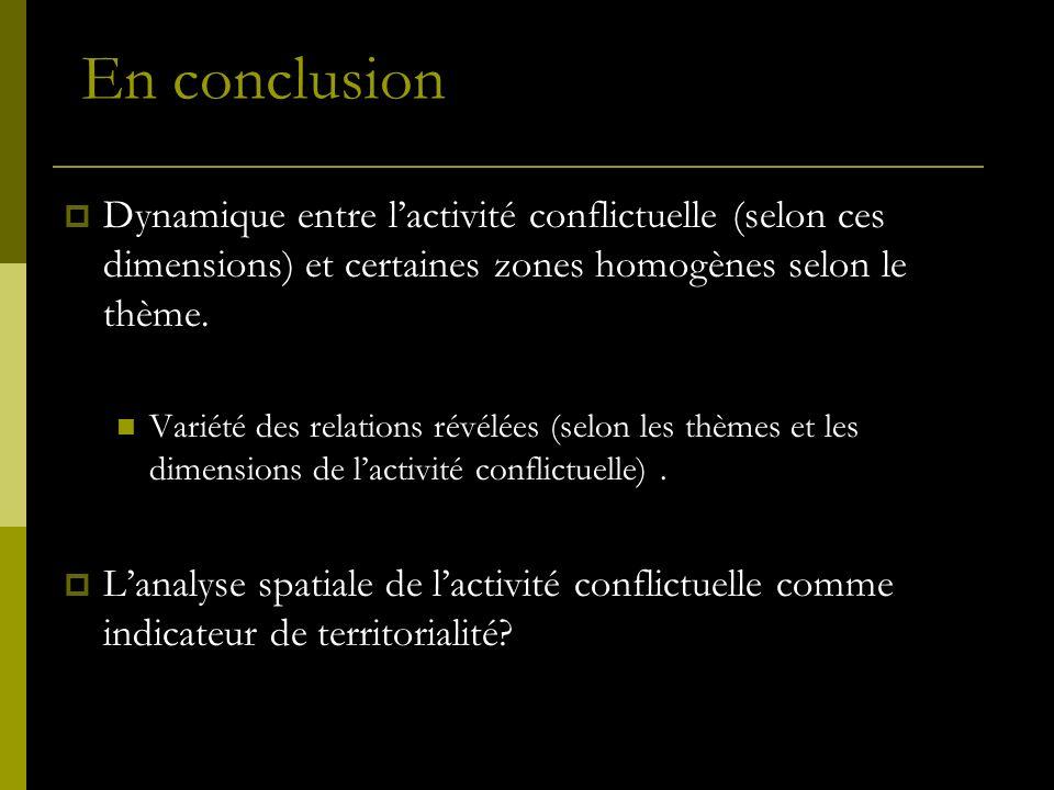 En conclusion Dynamique entre l'activité conflictuelle (selon ces dimensions) et certaines zones homogènes selon le thème.