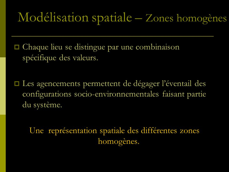 Une représentation spatiale des différentes zones homogènes.