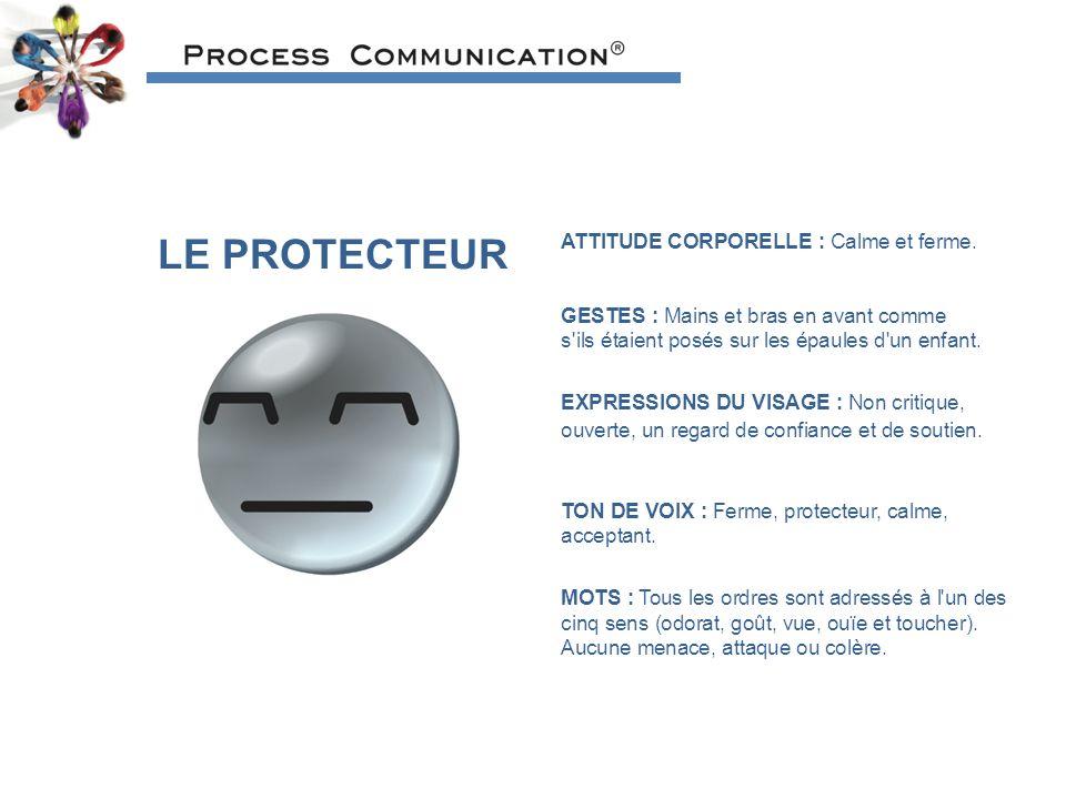 LE PROTECTEUR ATTITUDE CORPORELLE : Calme et ferme.
