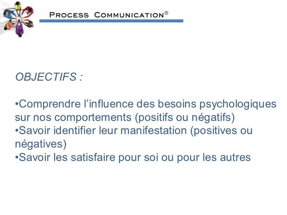OBJECTIFS : Comprendre l'influence des besoins psychologiques sur nos comportements (positifs ou négatifs)