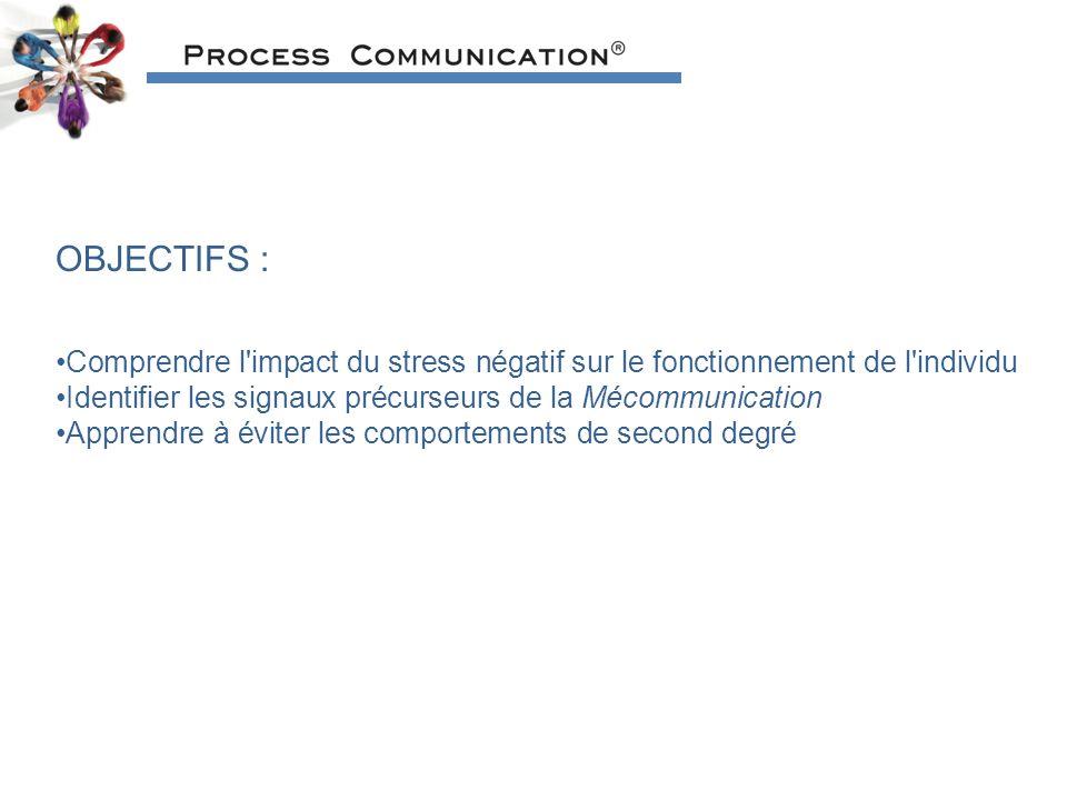 OBJECTIFS : Comprendre l impact du stress négatif sur le fonctionnement de l individu. Identifier les signaux précurseurs de la Mécommunication.