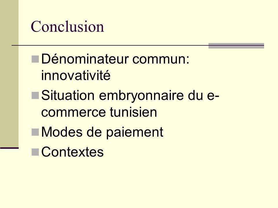 Conclusion Dénominateur commun: innovativité