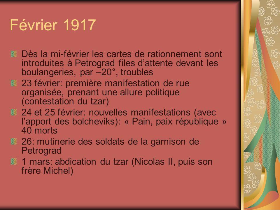 Février 1917 Dès la mi-février les cartes de rationnement sont introduites à Petrograd files d'attente devant les boulangeries, par –20°, troubles.