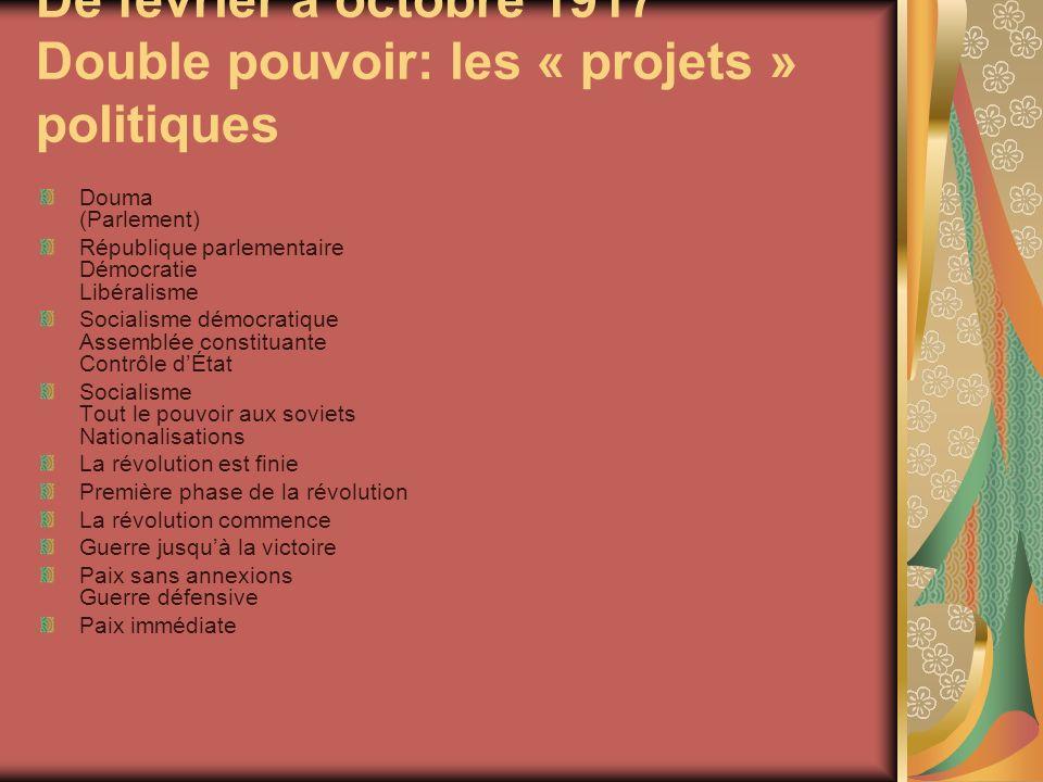 De février à octobre 1917 Double pouvoir: les « projets » politiques
