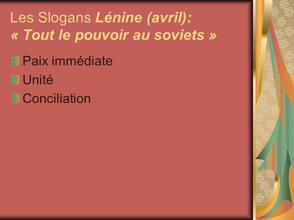 Les Slogans Lénine (avril): « Tout le pouvoir au soviets »