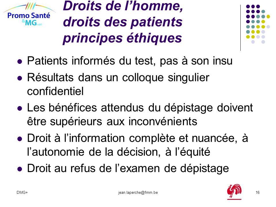 Droits de l'homme, droits des patients principes éthiques