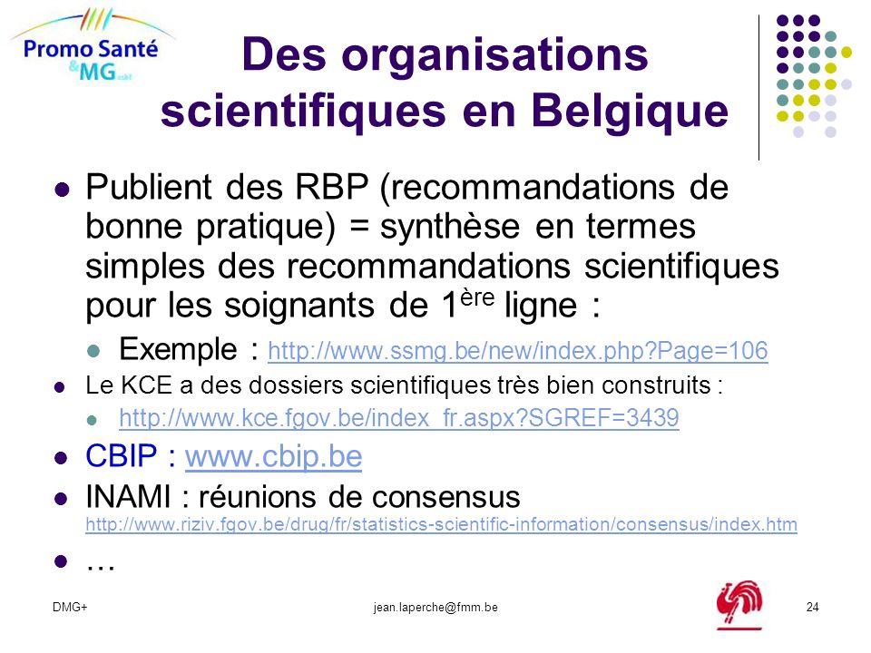 Des organisations scientifiques en Belgique