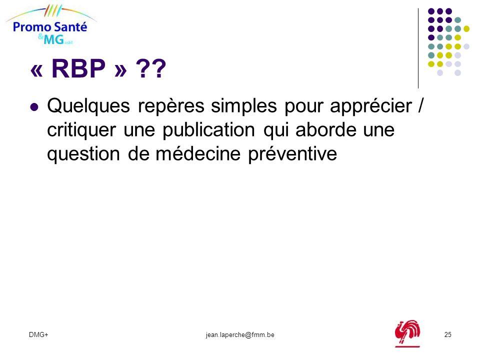 « RBP » Quelques repères simples pour apprécier / critiquer une publication qui aborde une question de médecine préventive.