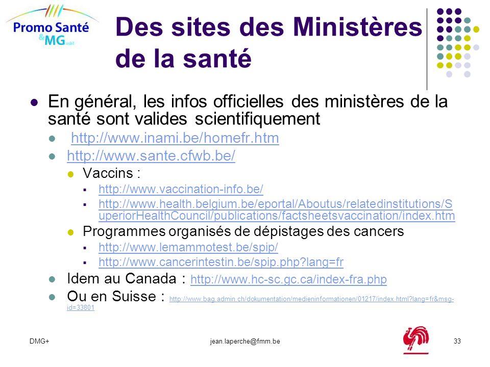 Des sites des Ministères de la santé