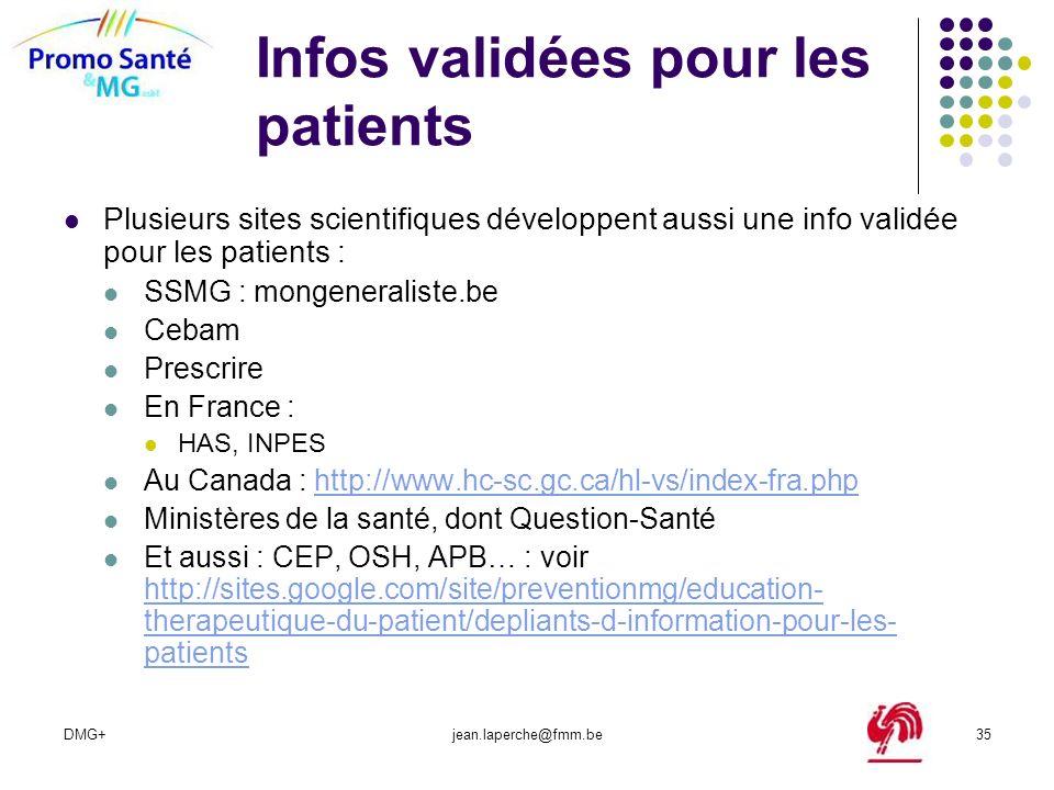 Infos validées pour les patients