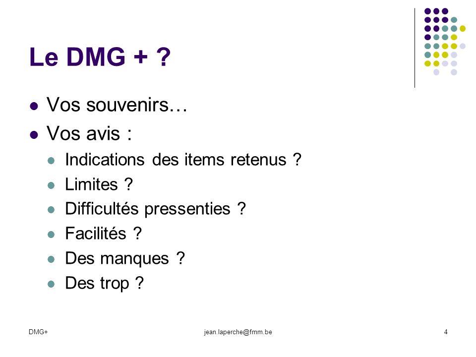 Le DMG + Vos souvenirs… Vos avis : Indications des items retenus