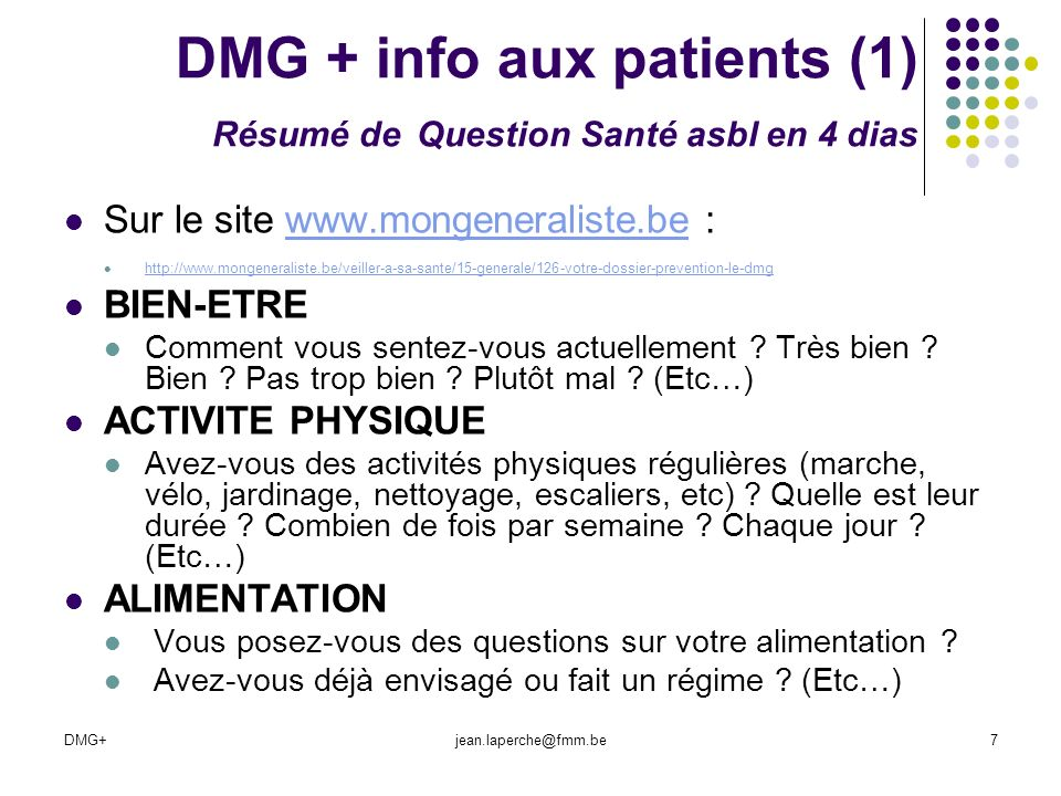 DMG + info aux patients (1) Résumé de Question Santé asbl en 4 dias