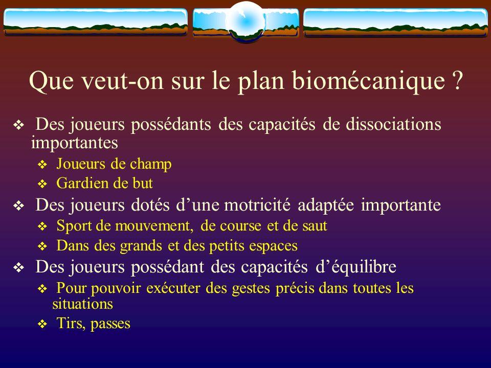Que veut-on sur le plan biomécanique