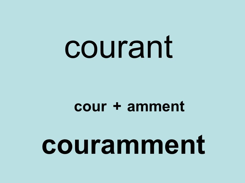 courant cour + amment couramment