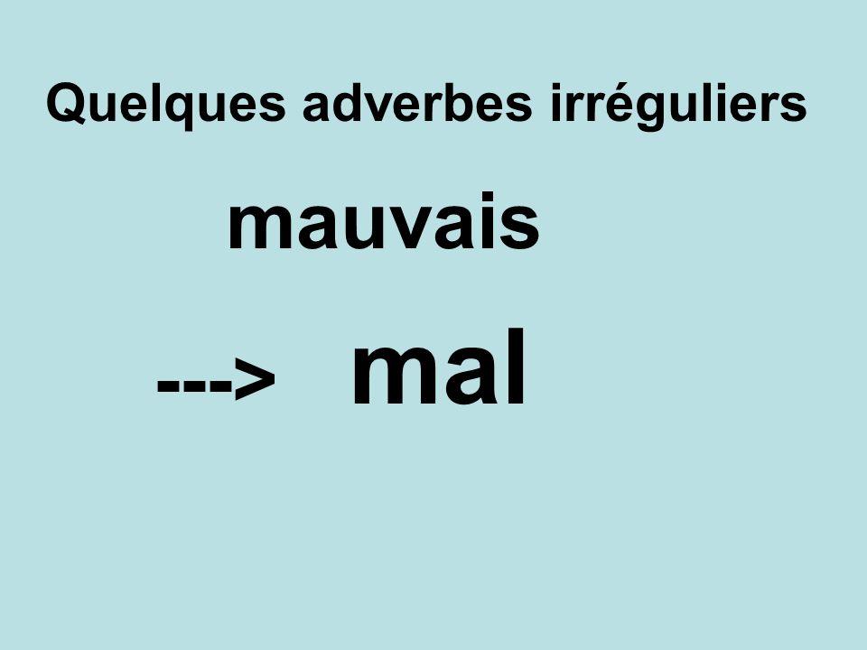 Quelques adverbes irréguliers