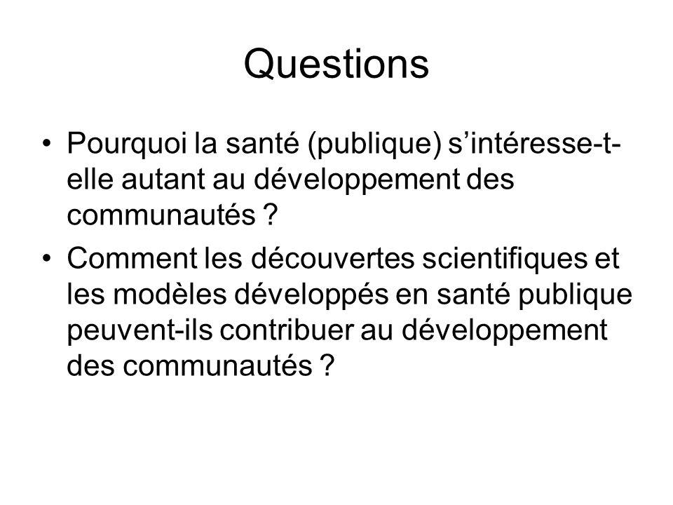 Questions Pourquoi la santé (publique) s'intéresse-t-elle autant au développement des communautés