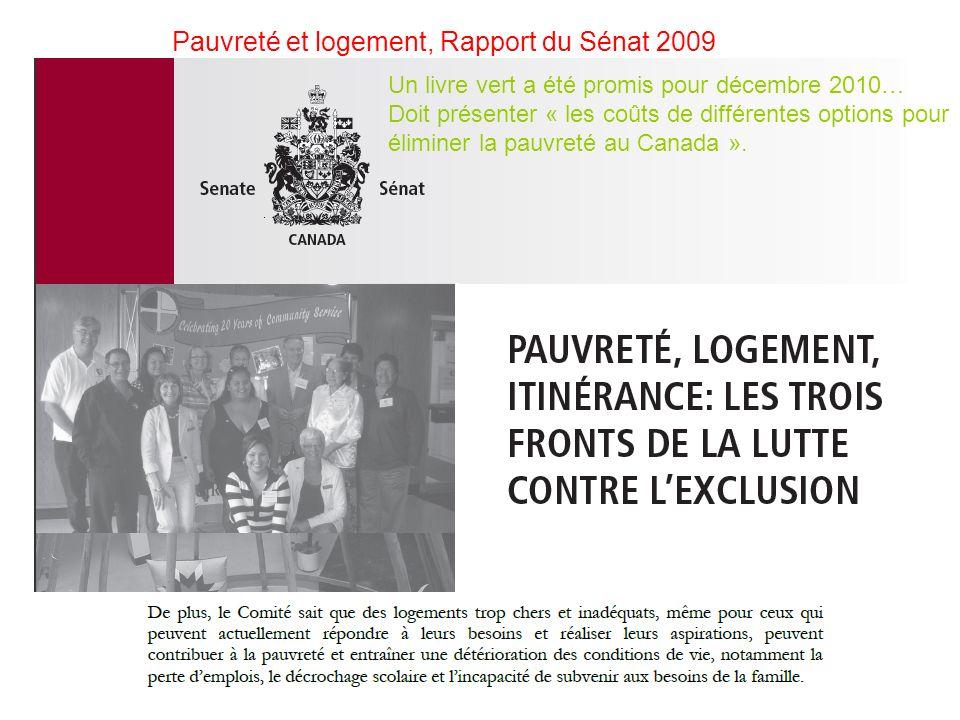 Pauvreté et logement, Rapport du Sénat 2009