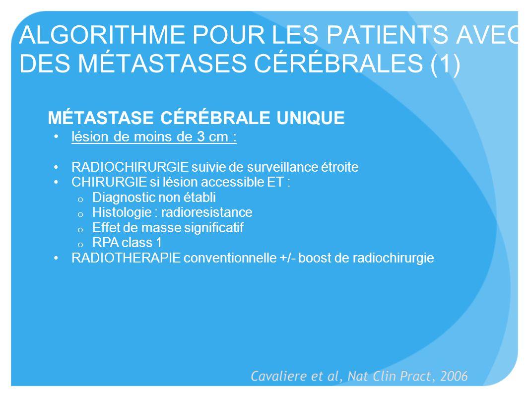 ALGORITHME POUR LES PATIENTS AVEC DES MÉTASTASES CÉRÉBRALES (1)