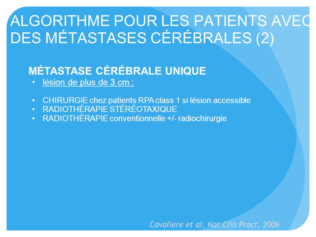 ALGORITHME POUR LES PATIENTS AVEC DES MÉTASTASES CÉRÉBRALES (2)
