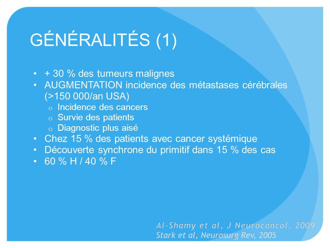 GÉNÉRALITÉS (1) + 30 % des tumeurs malignes