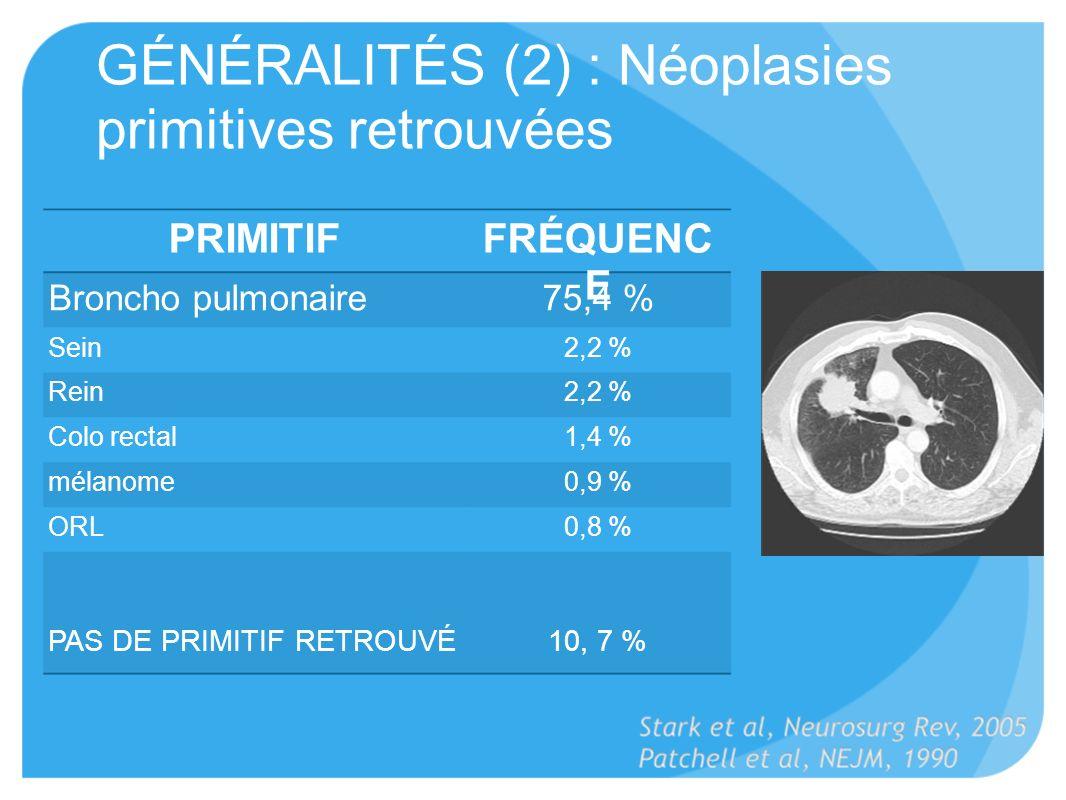 GÉNÉRALITÉS (2) : Néoplasies primitives retrouvées