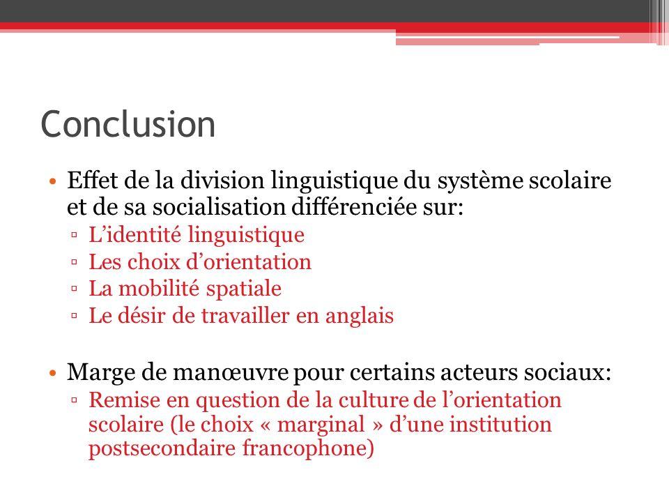 Conclusion Effet de la division linguistique du système scolaire et de sa socialisation différenciée sur: