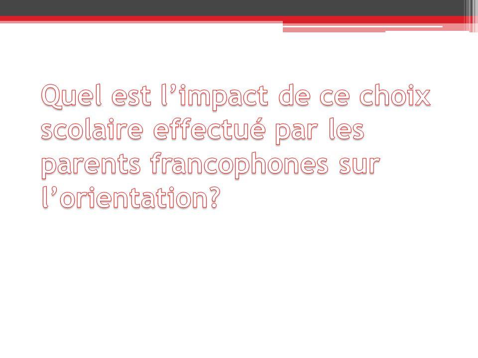 Quel est l'impact de ce choix scolaire effectué par les parents francophones sur l'orientation