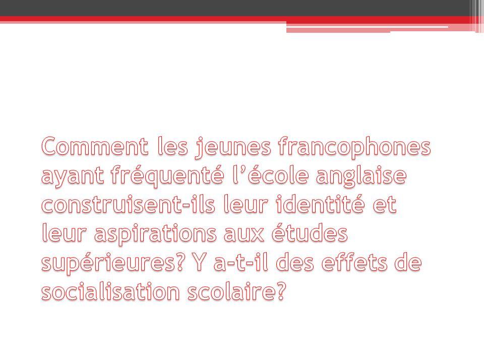 Comment les jeunes francophones ayant fréquenté l'école anglaise construisent-ils leur identité et leur aspirations aux études supérieures.